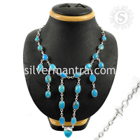 Glowing High Quality Turquoise Necklace 925 Indian Silver Jewelry Sterling Silver Jewelry Supplier
