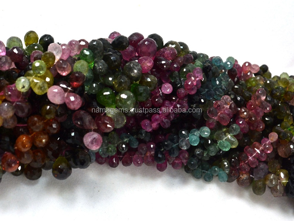 "3X5-4X6 mm Watermelon Multi Tourmaline Gemstone 8"" Strand Faceted Drops Loose Beads"