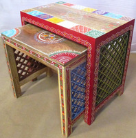 Hand Painted Carved Wooden Nesting Table