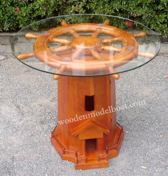 WOODEN LIGHTHOUSE SHIP WHEEL TABLE WITH CABINET NAUTICAL FURNITURE/ WOODEN  NAUTICAL FURNITURE/ NAUTICAL FURNITURE