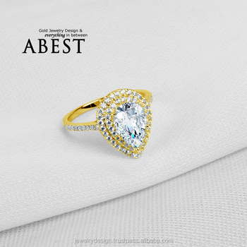 Double Halo Pear Shape Main Stone 10K Gold Yellow Ring Sona Simulated Diamond Jewelry Ring New Wedding Engagement Ring