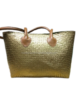 Best Selling Gold Seagrass Straw Beach Bag With Leather Handle ...