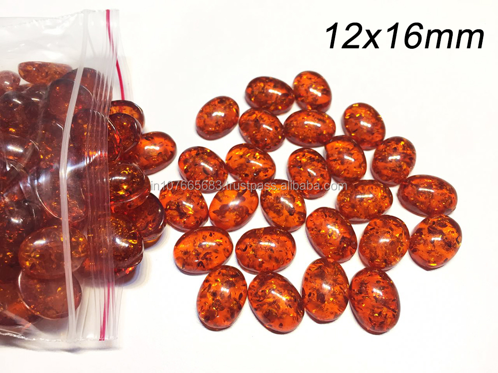 Synthetic Amber Oval Calibrated Size Cabochon Wholesale Gemstone