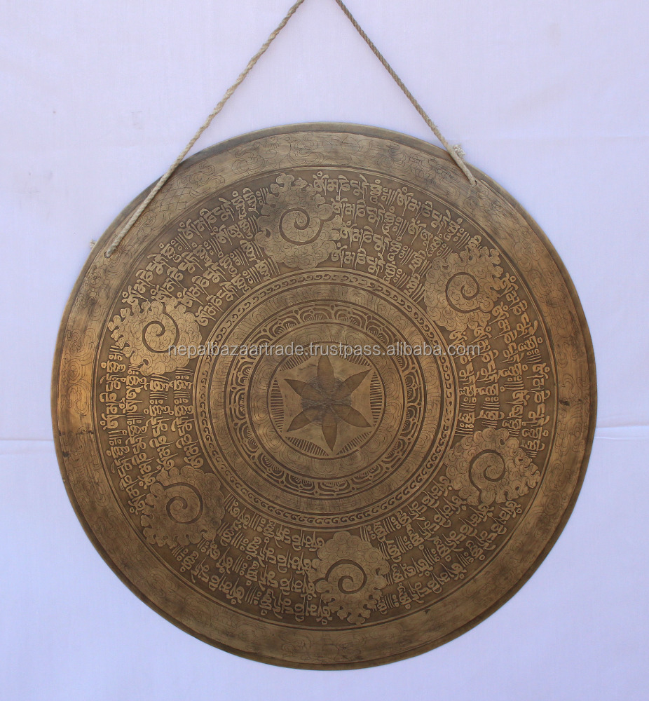 Buddha Mantra and symbols Carved Himalayan Deep Sound Gong