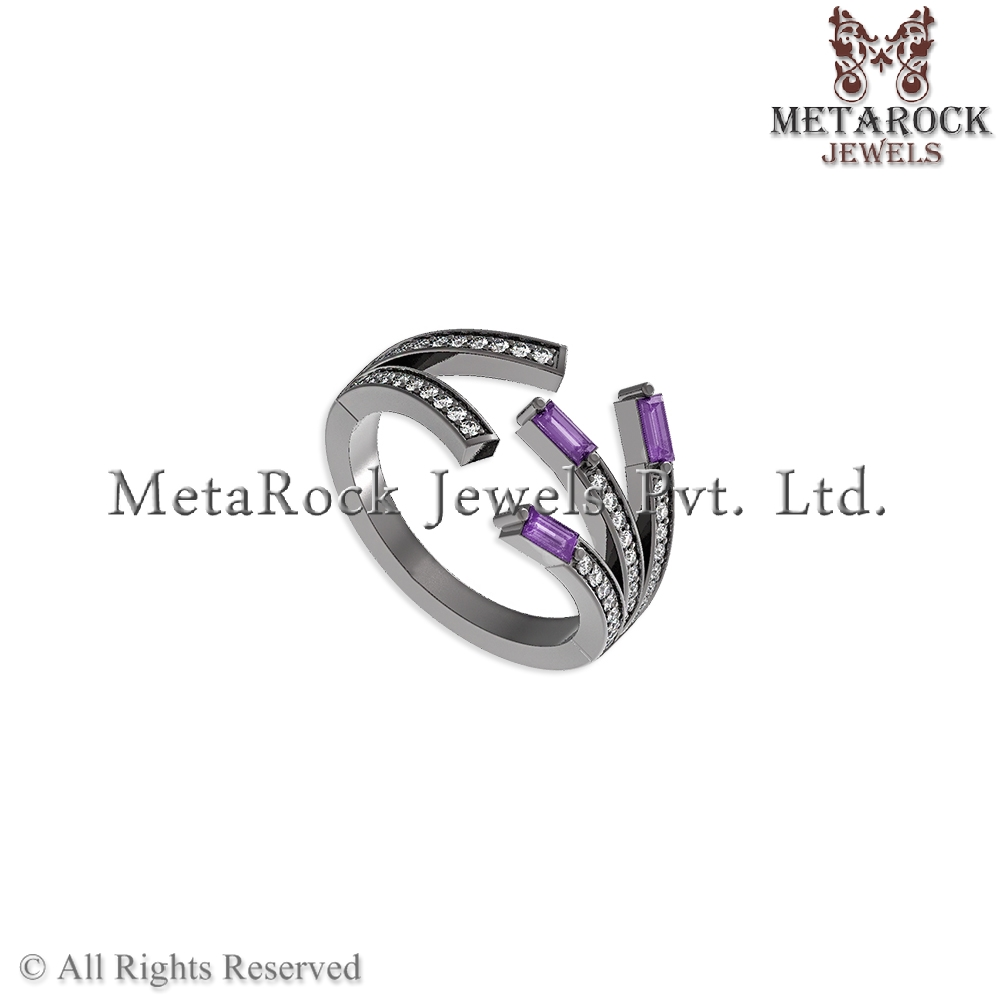 Handmade Amethyst Baguettes Diamond Pave 925 Sterling Silver Open Ring Gemstone Fashion Jewelry