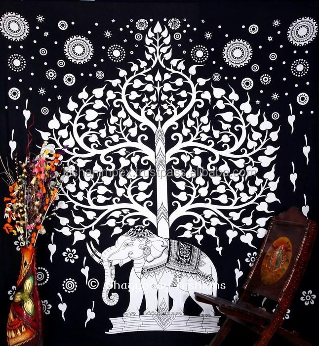Blanco Y Negro A Mano Tie Dye Elefante árbol De La Vida Tapicería De