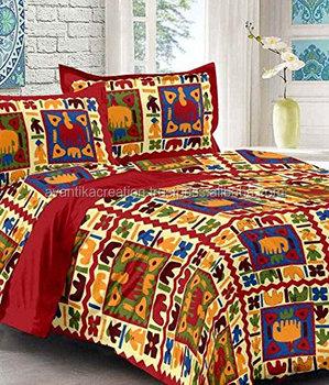 Jaipuri Hand Block Printed Bed Sheet 100% Cotton Bedsheet Bedspread  Designer Bedsheets
