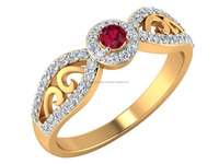 14k Yellow Solid Gold Natural Certified Diamond Elegant Genuine Ruby stone Ring Occasional Jewelry