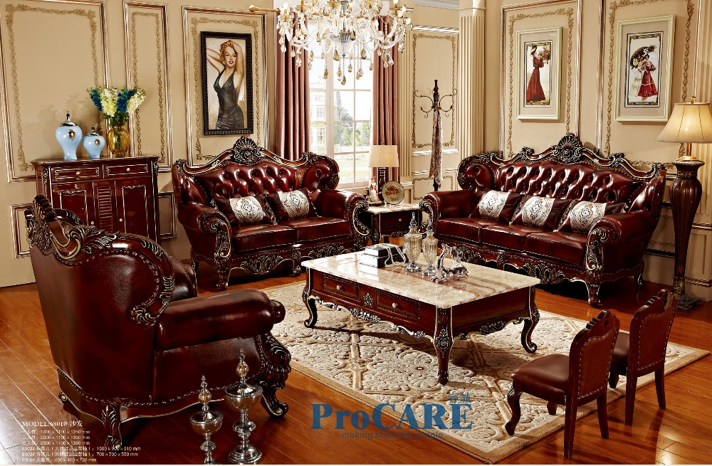 Wood genuine leather sofas set living room furniture with coffee table