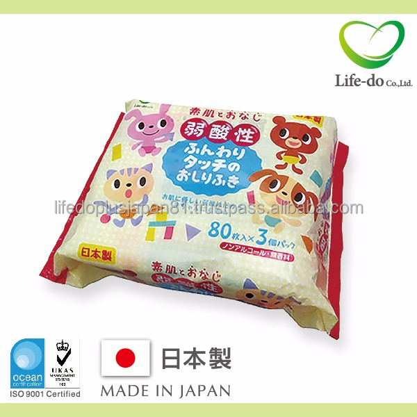 practical cute baby pictures 3d Japanese Baby wipes with weak acidity and non alcohol 80 sheets / pack x 3P