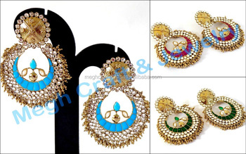 Bollywood Style Kundan Chandelier Earring Fashion Wear Costume Jewelry Navratri