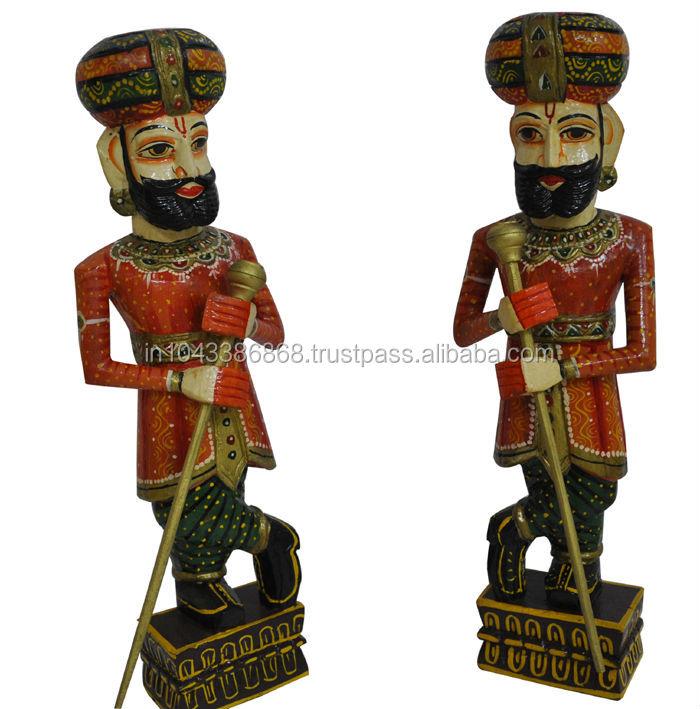 Antique Indian Home Decor Handmade Painted Pair of Wooden Sculpture / Statue of Door Keeper (