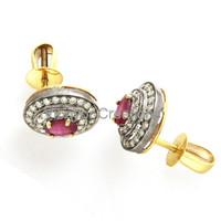Ruby gemstone dangle earring victorian diamond earring 14k gold, 92.5 sterling silver stud Earring