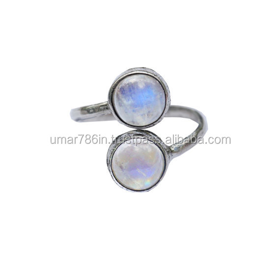 Rainbow Moonstone Silver Adjustable Ring