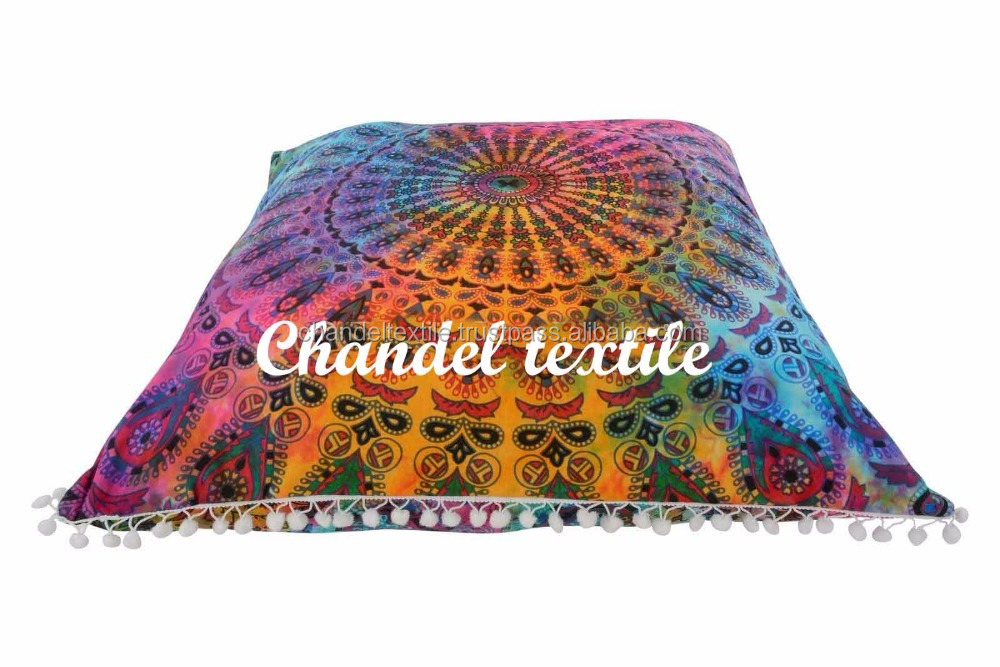Large Indian Shams Mandala Pillows Ethnic Square Tapestry Cushion Cover with pom pom mandala throw cases Multicolored Decor 26'