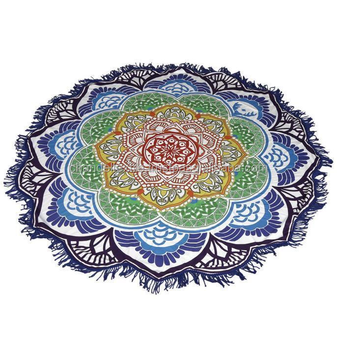 color lotus indien fait mandala rond tapisserie plage jeter tapis de yoga couverture de table. Black Bedroom Furniture Sets. Home Design Ideas