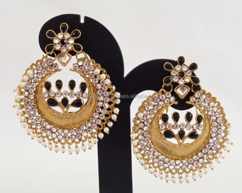 f9d0c286f Wholesale Punjabi Chandelier Earrings-Muslim wedding jewelry-Traditional  Antique Kundan Earrings-Long Jadau