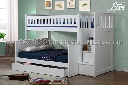 Wooden Triple Bunk Bed In White Good Quality Buy Kids Bunk Bed