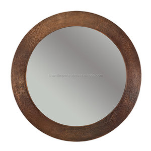 Wall Mounted Hand Hammered Round Copper Mirror