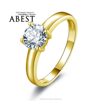 Lady Solitaire Round Cut SONA Diamond Bridal Engagement Wedding Ring 1 CT Forever Classic Lab Diamond 10K Yellow Gold Ring