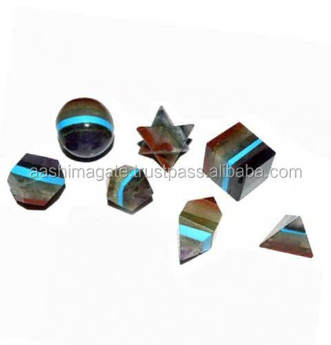Gemstone Chakra Bounded 7pcs Geometry Set | wholesale Agate Gemstone Chakra Bounded Platonic Solid Healing Energy Set