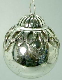 Antique Vintage Beaded Mercury Glass Christmas Ornaments Antique CHRISTMAS silver glass ornament CHRISTMAS TREE