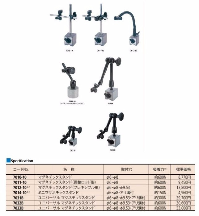 Original Mitutoyo measurement instrument parts and accessories Magnetic base/stand 7010-10, Made in Japan