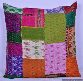 24 X Indian Silk Patchwork Cushion Cover Case Ethnic Home