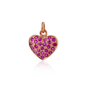 Heart Shape Valentine Charm Pendant 925 Sterling Silver Ruby Gemstone Jewelry