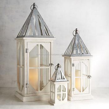 Garden Decorative Wooden Lantern Set