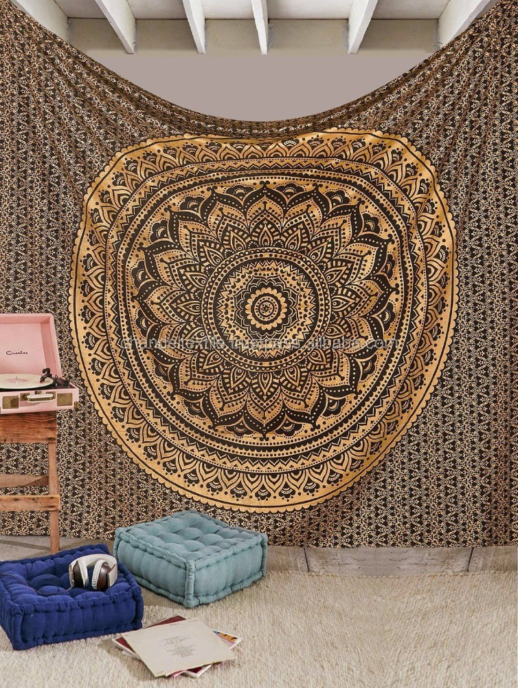 Indian Black Gold Ombre Mandala Wall Hanging Christmas Decorative Queen Tapestry