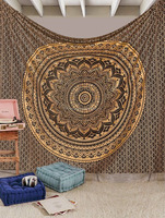 Indian Tapestry Wall Hanging Black Gold Ombre Mandala Bedspread Queen Size Throw Unique Gold Ombre Mandala Tapestry Dorm Decor
