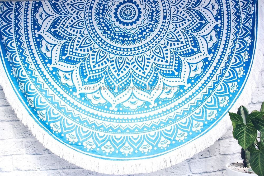 Hippie Bohemian Ombre Mandala Round Tapestry Beach Throw Roundie Towel Yoga Mat Beach Towel More