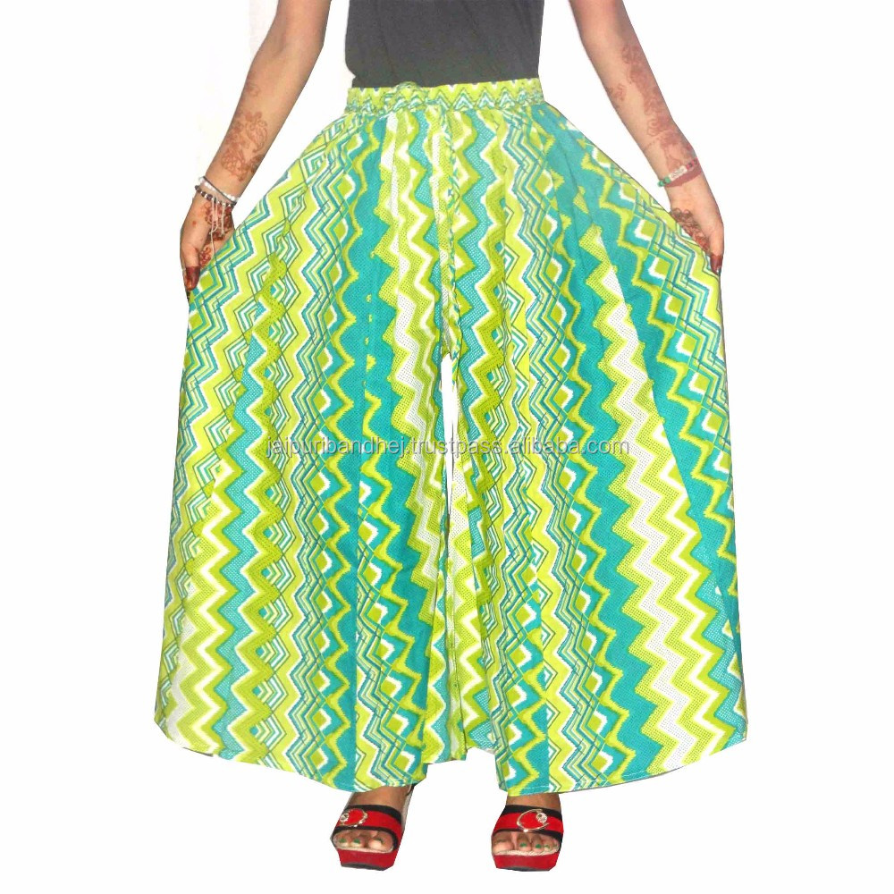 Casual palazzo pants for women multi print cambric cotton for Divider skirt images