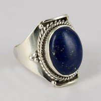 Fashionable Brand Look !! Handmade Silver Jewelry, Exporter, Wholesaler & Manufacturer in 925 Sterling Silver Jewelry Lapis Ring