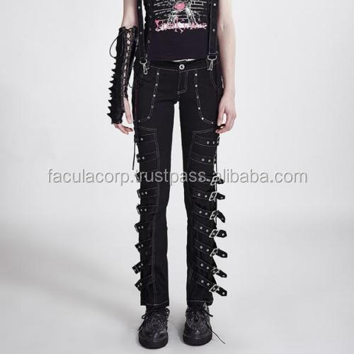 GOTHIC Buckle Bondage Pants [Special Order] - Gothic,Goth,Black,Trousers FC-4747
