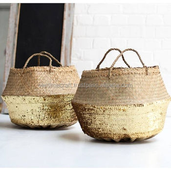 Gold Sequin Belly Basket,Seagrass Dipped Bottom Basket,Folding ...