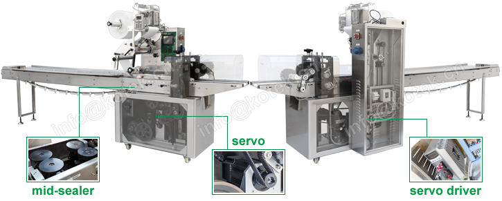 Small Mini Automatic Food Flow Pack Machine For Biscuit Packaging
