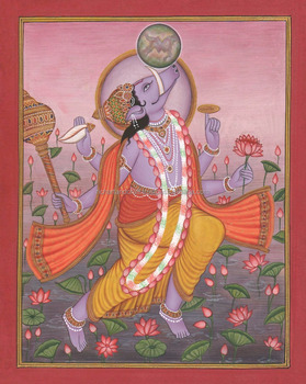 Hindu God Varah Avtar Painting Artwork ISCON Vedic Yoga Horse Rare Indian