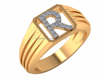 Exclusive Initials Alphabet R Diamond Ring 14kt Certified Stylish Dailywear Uni