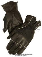 Leather/Mesh Combo Glove with Highly Reflective Piping, Gel Palm and Breathable Liner