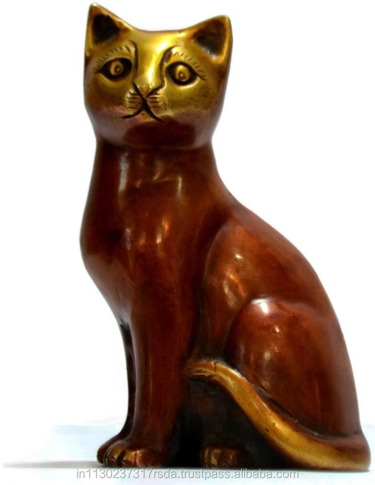 Sitzen Katze Statue Kitty Katzen Mid Kitten Abbildung Messing ...