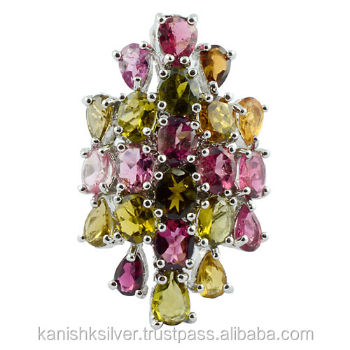 Multi Color Tourmaline Gemstone Rings Jewelry,925 Sterling Silver ...