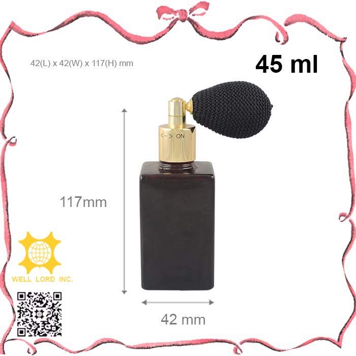 High end bulb atomizer 45ml screen printing empty glass bottle