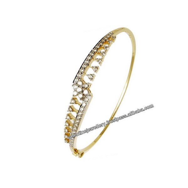 Real Diamond Gold Bracelet For S From India Light Weight Half Bangle Product On Alibaba
