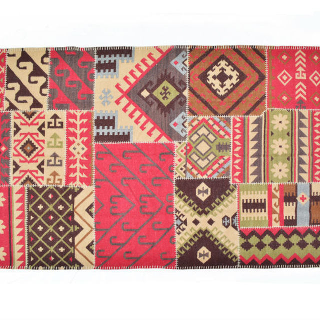 Natural Fibres Colorful Patchwork Kilim Rug
