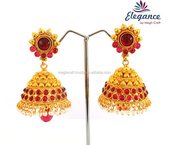 Indian Traditional Jhumka Earrings Antique One Gram Gold Pearl Whole Imitation