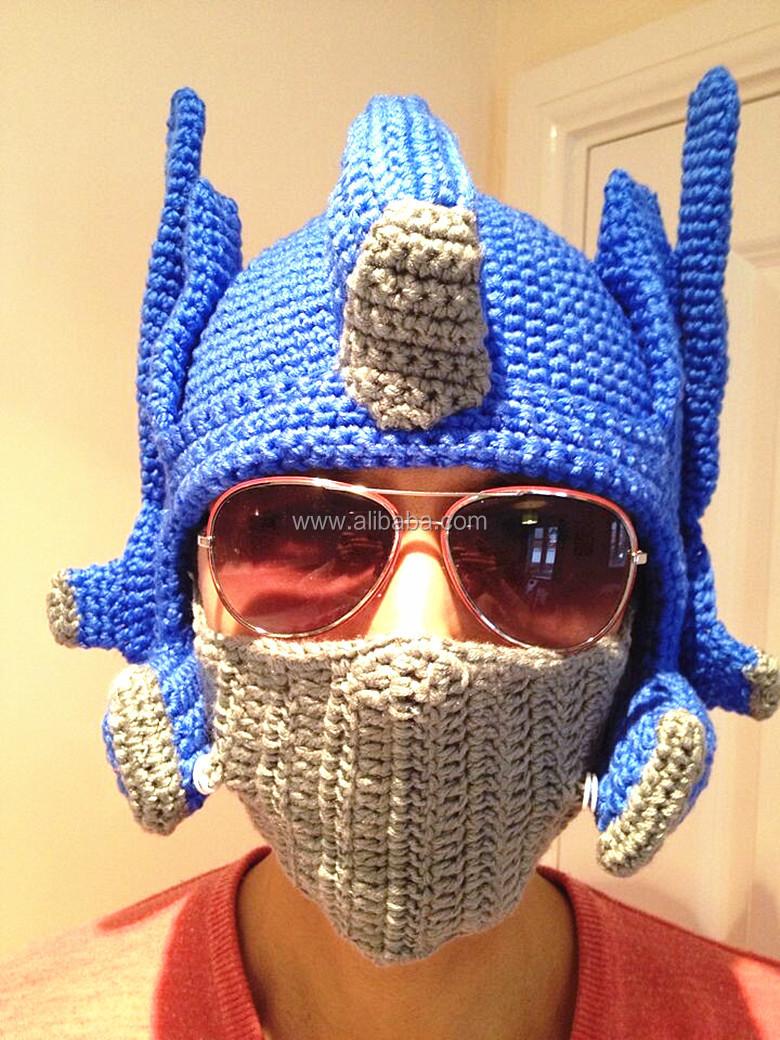 Funky Novelty Mens Hand Crochet Beanie Transformer Optimus Prime Hat