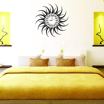 LASMI BLACK SUN STICKER WALL CLOCK