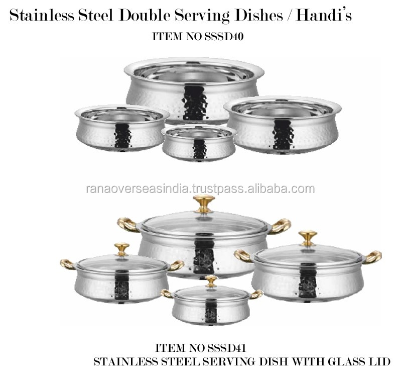 Stainless Steel Serving Dishes Pots With Gl Lids For Home Restaurant Hotel And Catering Ware India Hot Pot Indian